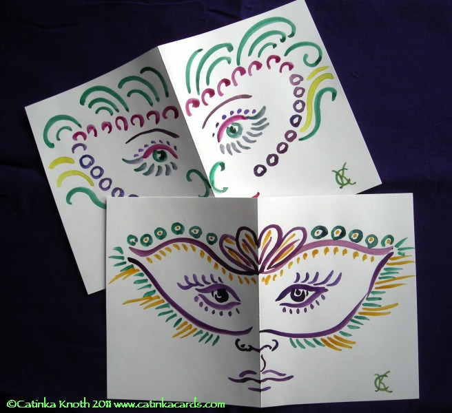 Mardi Gras mask watercolor cards by Catinka Knoth