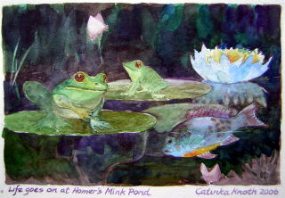 frog and fish pond art