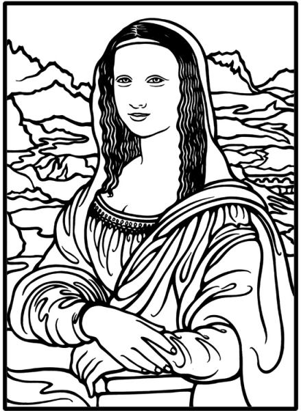 mona lisa coloring page - Mona Lisa Coloring Page Printable