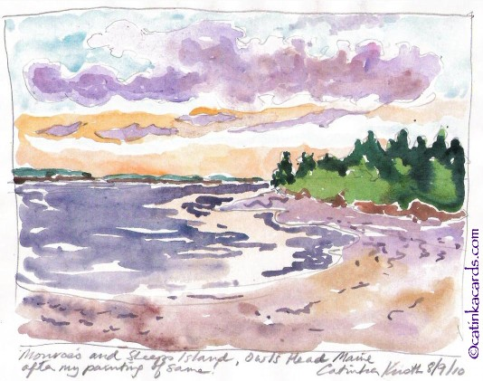 Maine landscape watercolor by Catinka Knoth