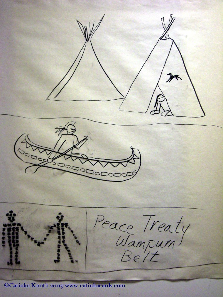 canoe, tepee, peace treaty wampum drawing