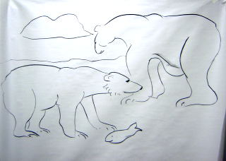 polar bears with fish drawing