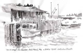 wash painting of harbor