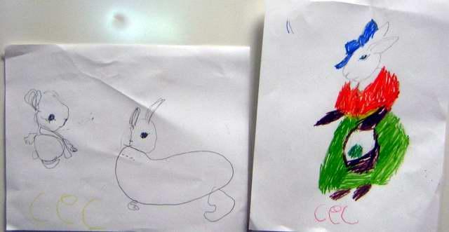 kids rabbit art