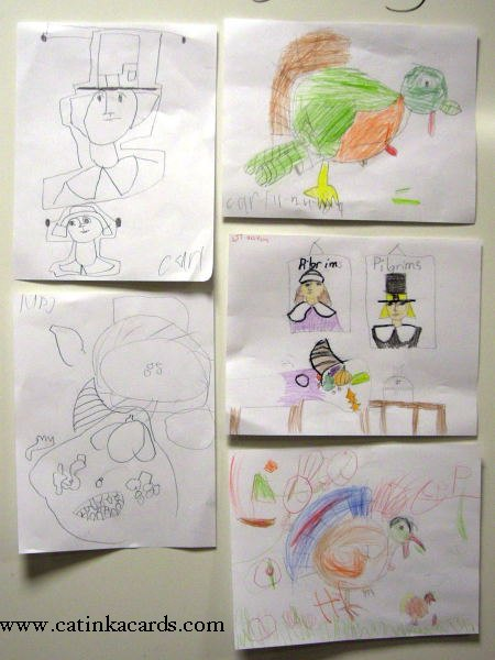 kids' Thanksgiving art