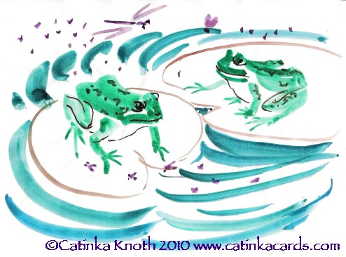 wetlands frogs sumi-e painting