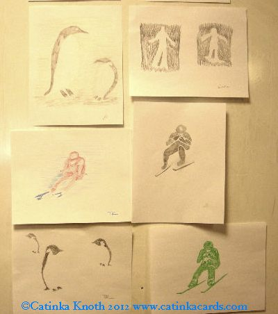 winter art by adult students - penguins and skiiers