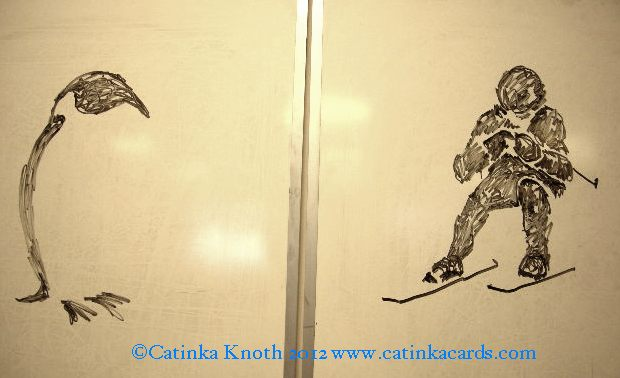 winter demo art - penguin and skiier by Catinka Knoth
