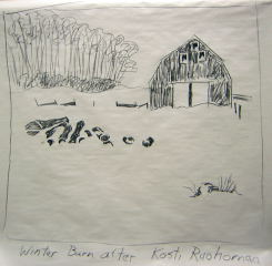 winter barn art