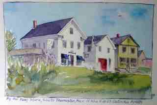 watercolor of Maine buildings