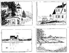 Maine Lighthouse Drawings